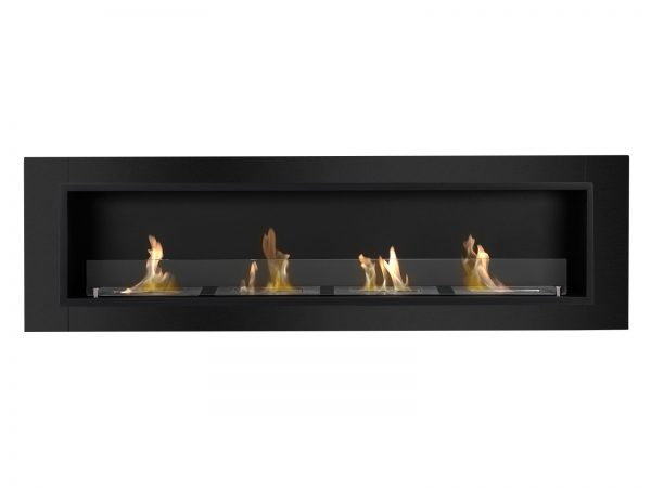 Accalia Black Ventless Ethanol Fireplace Front View