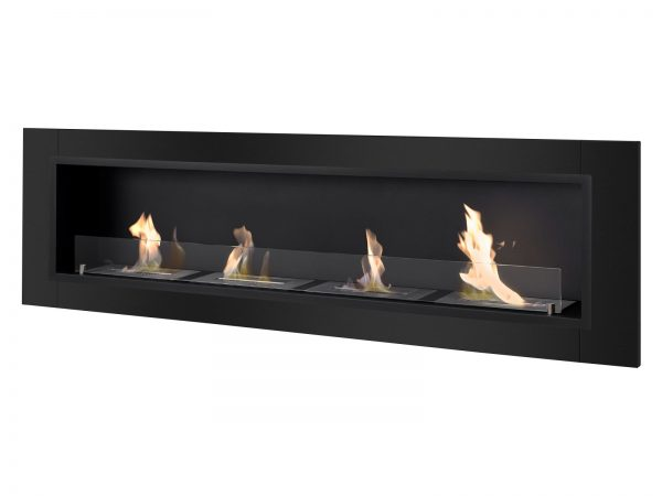 Accalia Black Ventless Ethanol Fireplace Side View