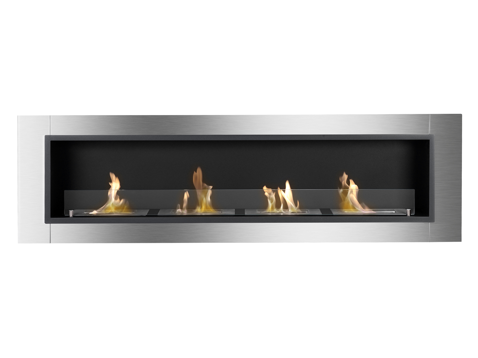 Accalia Ventless Recessed Ethanol Fireplace with Flame Front View
