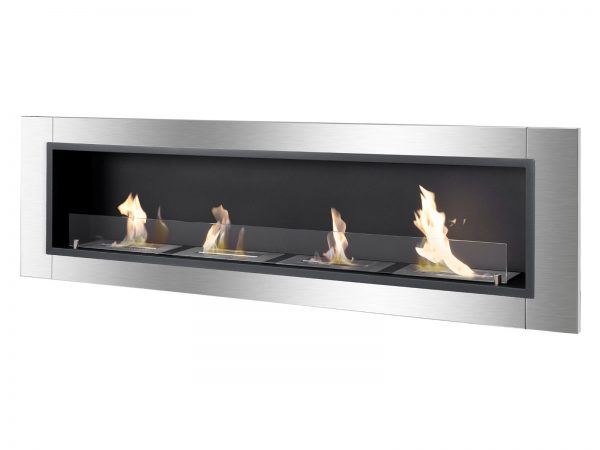 Accalia Ventless Recessed Ethanol Fireplace with Flame Side View