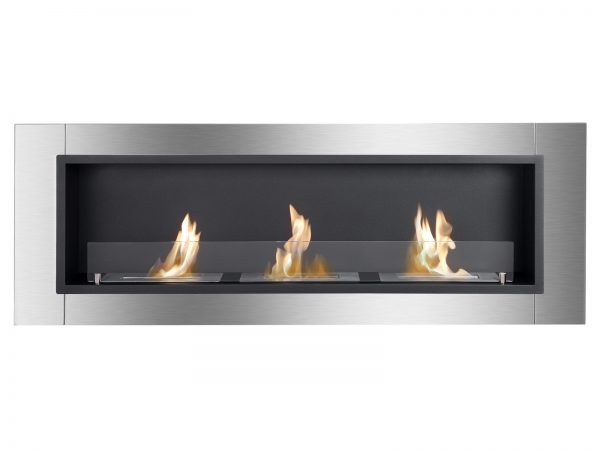 Ardella Ventless Recessed Ethanol Fireplace with Flame Front View