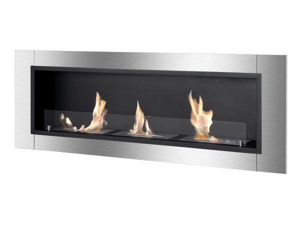 Ardella Ventless Recessed Ethanol Fireplace with Flame Side View
