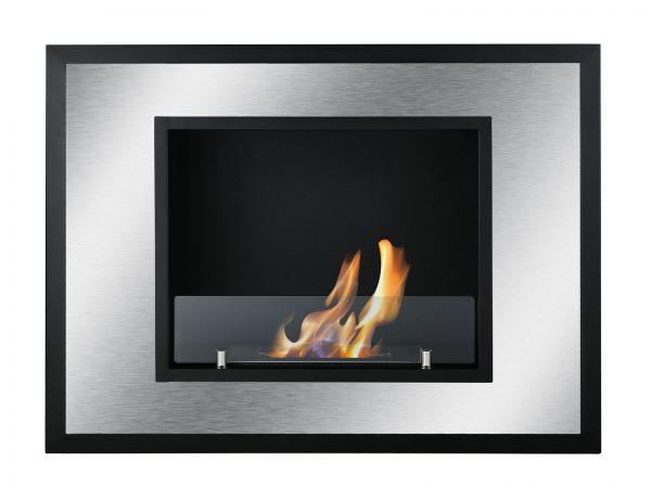 Bellezza Mini Recessed Ventless Ethanol Fireplace with Flame - Front View