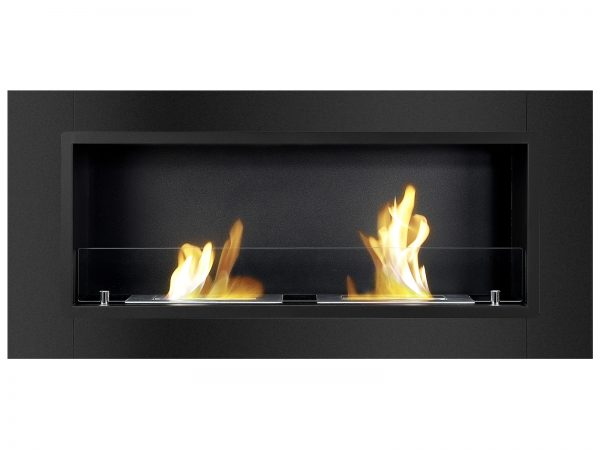 Lata Black Ventless Ethanol Fireplace Front View