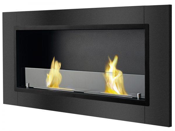 Lata Black Ventless Ethanol Fireplace Side View