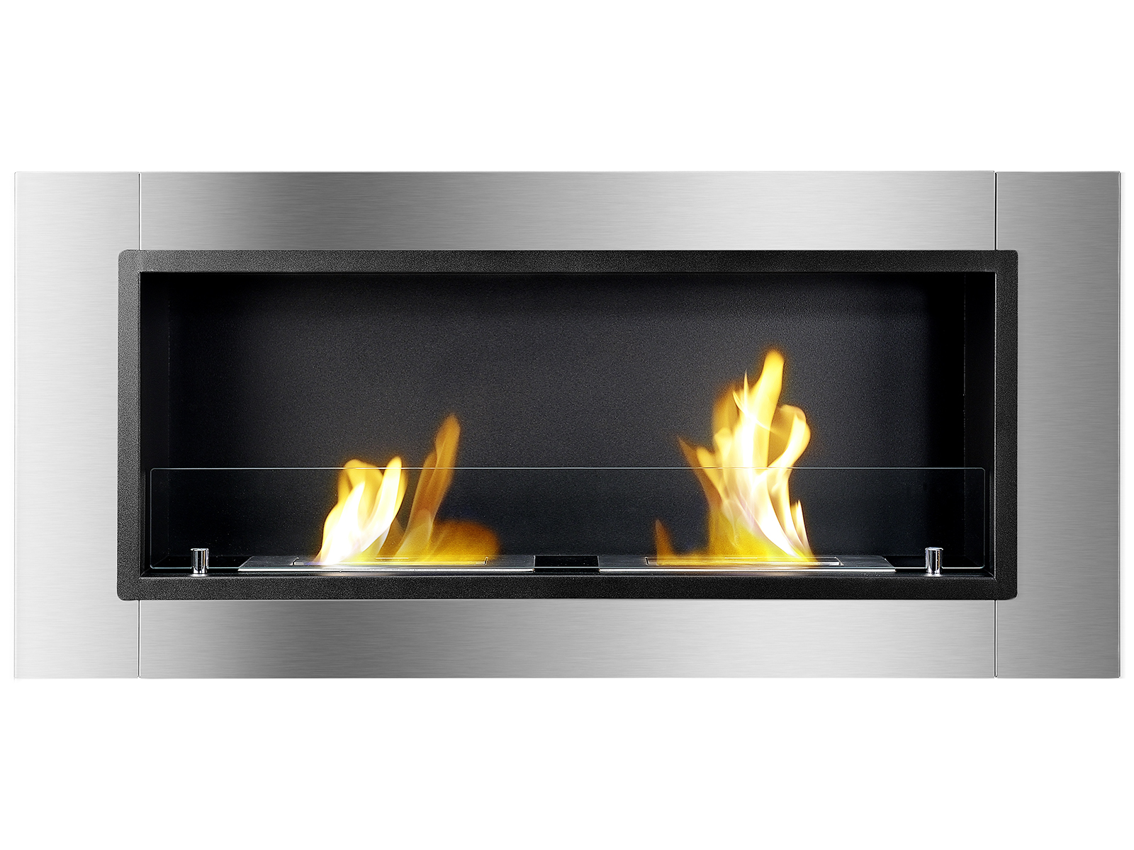 Lata Ventless Ethanol Fireplace with Flames Front View