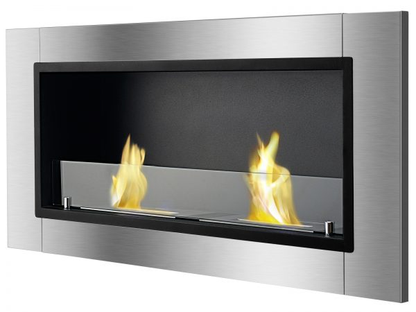 Lata Ventless Ethanol Fireplace with Flames Side View