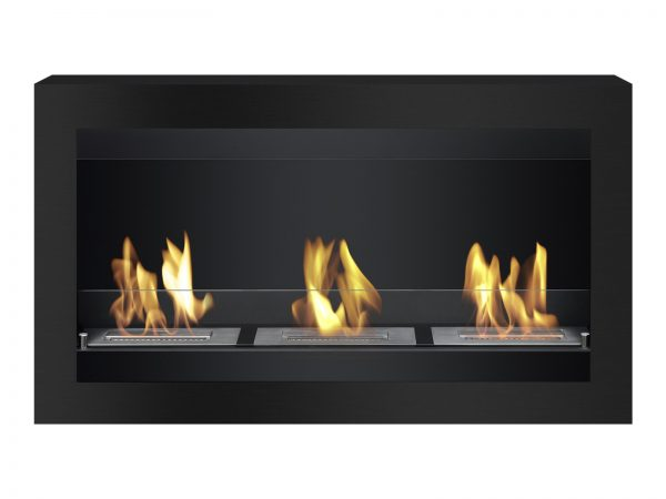 Magnum Black Wall Mounted Ethanol Fireplace - Front View