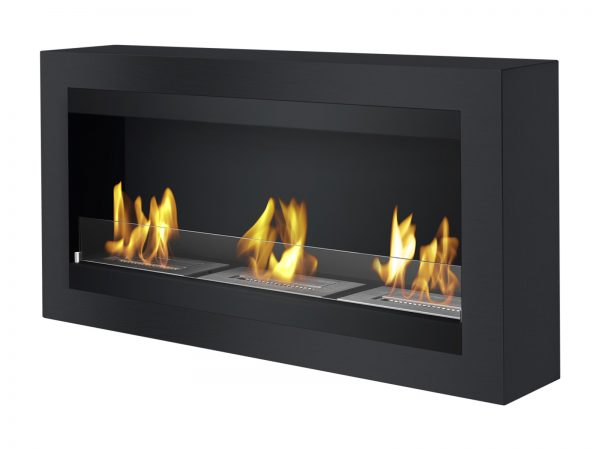 Magnum Black Wall Mounted Ethanol Fireplace - Side View