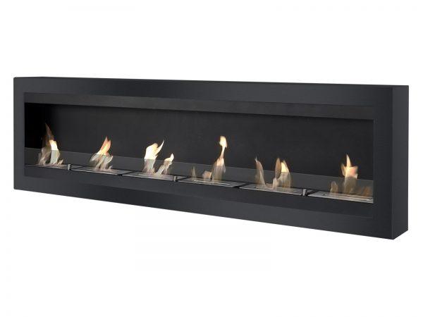 Maximum Black Wall Mounted Ethanol Fireplace - Side View