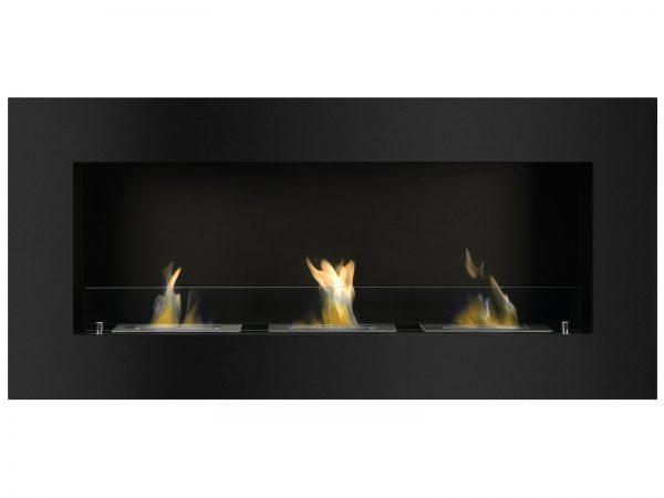 Optimum Black Recessed Ethanol Fireplace - Front View