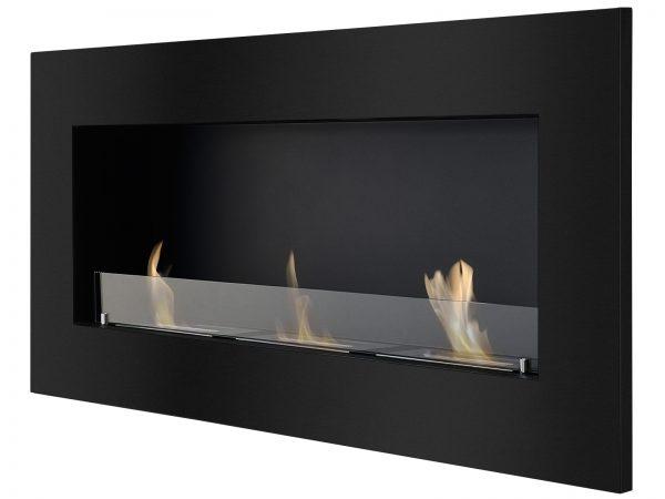 Optimum Black Recessed Ethanol Fireplace - Side View