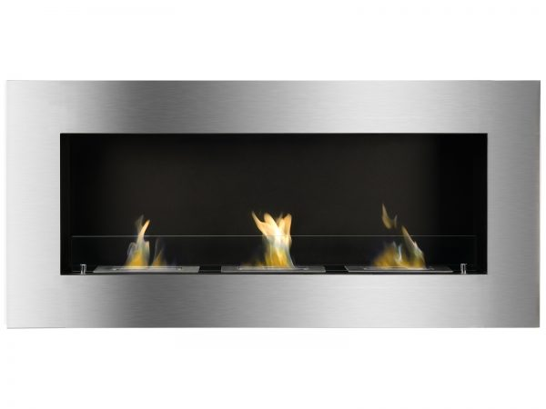 Optimum Recessed Ethanol Fireplace with Flame - Front View