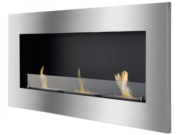 Optimum Recessed Ethanol Fireplace with Flame Side View