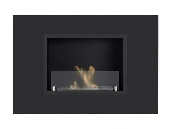 Quadra Black Recessed Ventless Ethanol Fireplace - Front View
