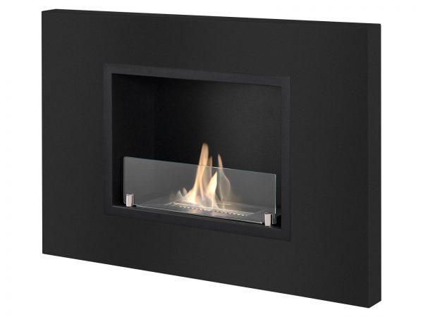 Quadra Black Recessed Ventless Ethanol Fireplace - Side View