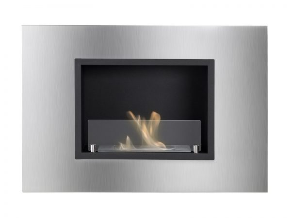 Quadra Ventless Recessed Ethanol Fireplace with Flames - Front View