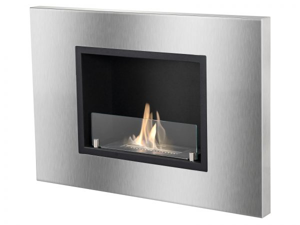 Quadra Ventless Recessed Ethanol Fireplace with Flames - Side View