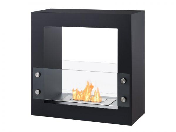 Tectum Mini Black Freestanding Ethanol Fireplace