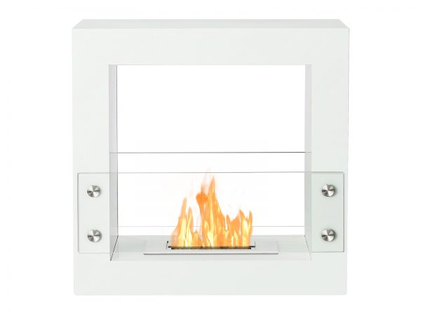 Tectum Mini White Freestanding Ethanol Fireplace with Flame - Front View