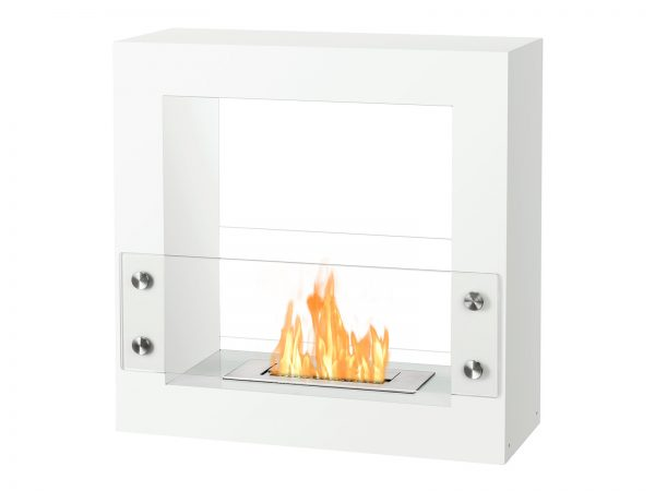 Tectum Mini White Freestanding Ethanol Fireplace with Flame - Side View