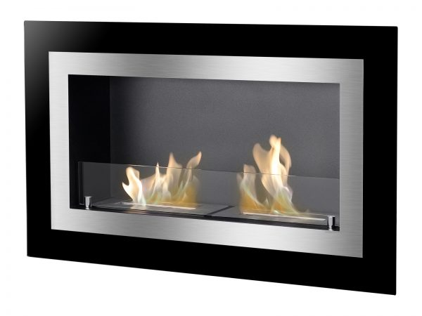 Villa Recessed Ethanol Fireplace with Flame Side View