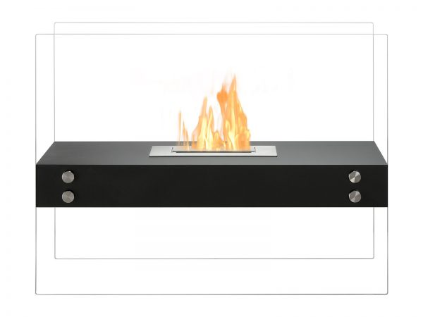 Vitrum H Black Freestanding Ventless Ethanol Fireplace