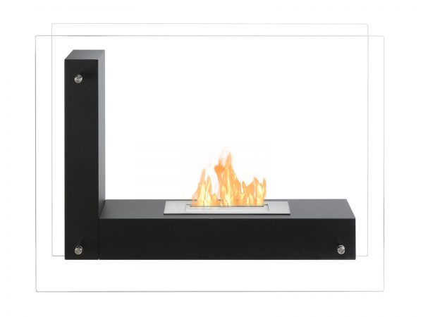Vitrum L Black Freestanding Ventless Ethanol Fireplace