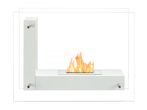 Vitrum L White Freestanding Ventless Ethanol Fireplace