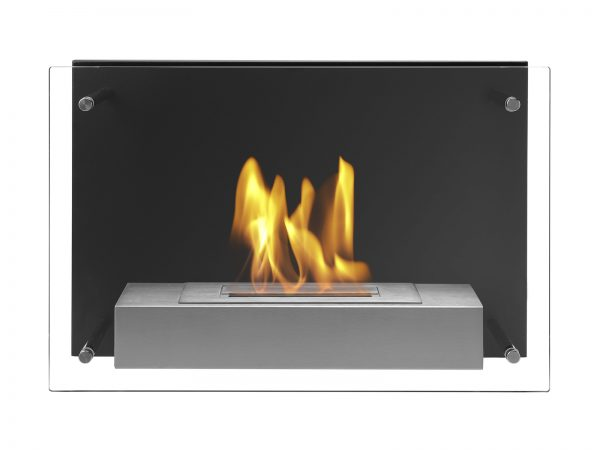 Wall Mounted Ethanol Fireplace Senti with Flames - Front View